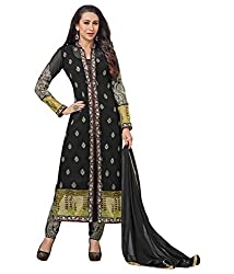 SANCHEY Womens Georgette Semi-stitched Salwar Suit Dupatta Material (Black)
