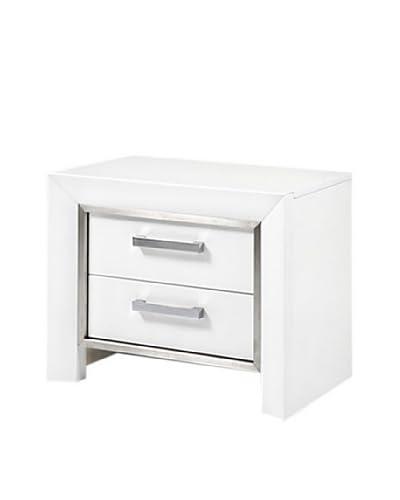 Furniture Contempo Ibiza Nightstand, White/Silver