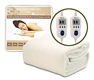 HOMEFRONT PREMIUM DOUBLE SIZE FULLY FITTED WASHABLE LUXURY FLEECE MATTRESS COVER DUAL CONTROL (INDIVIDUAL HEAT CONTROL FOR BODY & FEET)