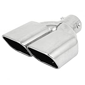Bolt on Dual Square Slanted Exhaust Muffler Burnt Tip for Auto