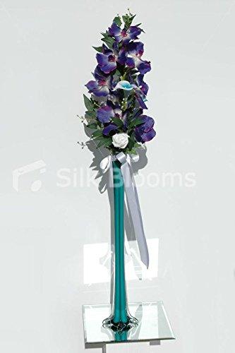 Tall Lily & Rose orchidée Vase de mariage Turquoise & écran Blanc