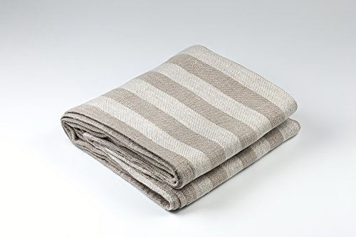 BLESS LINEN Jacquard Striped Pure Linen Bath Towel, Grey/White