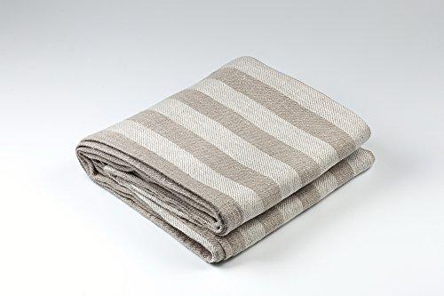 BLESS LINEN Jacquard Striped Pure Linen Bath Towel, Grey/White