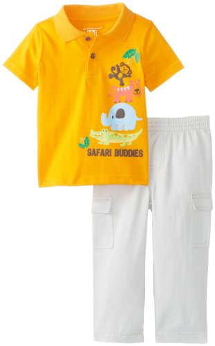 Kids Headquarters Baby-Boys Newborn Polo With Cargo Pants, Orange, 6-9 Months front-754135