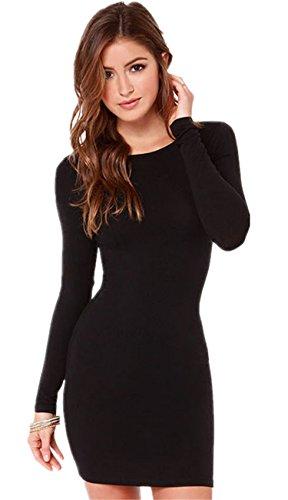 Sexy Maniche Lunghe Slim Fit Basic Base Bodycon Fascianti Aderente T-Shirt Maglietta Mini Corti Corto Vestito Abito Nero S