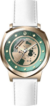 Bulova Accutron II Green and Gold Dial SS Leather Quartz Ladies Watch 97A111