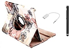 BMS New Multi Colour Designer 360 Degree Rotating PU Leather Smart Flip Book Case Cover Stand for ipad 2 with Splitter and Stylus Combo Set