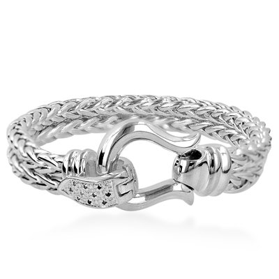 Sterling Silver Two Rows Diamond Link Bracelet