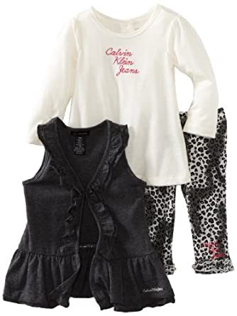 Calvin Klein Baby-girls Infant Vest with Long Sleeve Tee And Printed Pant, Assorted, 12 Months