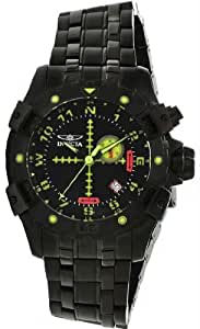 Invicta 1743 Black Stainless Steel Aviator Quartz Luminous Chronograph