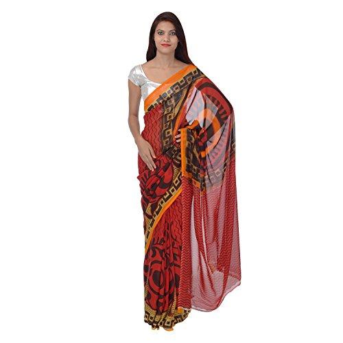 Saundarya Sarees Women Chiffon Printed Black and Red Saree
