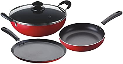 Bajaj Majesty Duo Non-Stick Cookware Set, 4 Pieces, Red