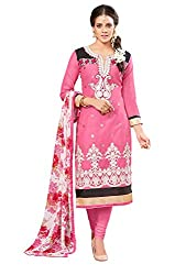 Khoobee Presents Embroidered Chanderi Dress Material (Pink)