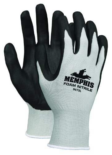 MCR Safety 9673XS Memphis Foam Seamless Nylon Knitted Gloves with Nero Foam Nitrile Dipped Palm and Fingers, Nero/bianco, X-Small