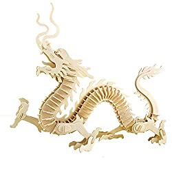 Creative Assemble Puzzle Toys Child Early Education Wooden 3 D Puzzle Animal China Dragon