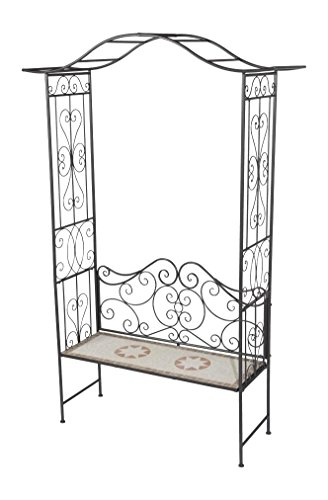 siena garden rosenbogen finca mit bank metall mosaik 115 x 43 x 230 cm silber. Black Bedroom Furniture Sets. Home Design Ideas