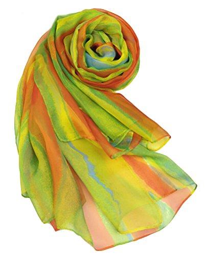 Ghope Damen Strandtuch Schal Pareo Sarong Wrap Shawl Regenbogen-Streifen 140*200cm Gelb