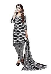 Minu Suits Cotton Unstiched Dress Material New Black