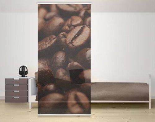WTD mantiburi Design Raumteiler Coffee Arabica Kaffee Schiebe Gardine Flächen Vorhang Paravent Bohnen Tasse Braun Aroma Cafe