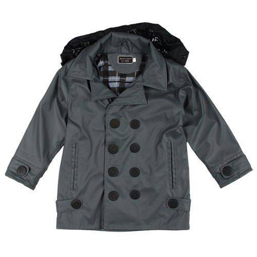 Western Chief Little Boys' Stanford Raincoat, Charcoal, 4/5 front-651105