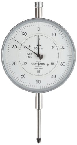 Brown & Sharpe Tesa 712G Compac Dial Gauge Indicator With Long Range Reading, M2.5 Thread, 8Mm Stem Dia., White Dial, 0-50-100 Reading, 82Mm Dial Dia., 0-30Mm Range, 0.01Mm Graduation, +/-0.025Mm Accuracy front-619411