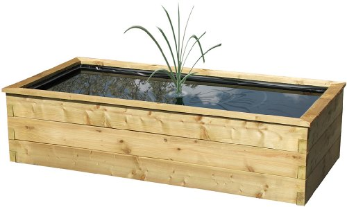 Robust raised wooden fish pond outdoor feature liner