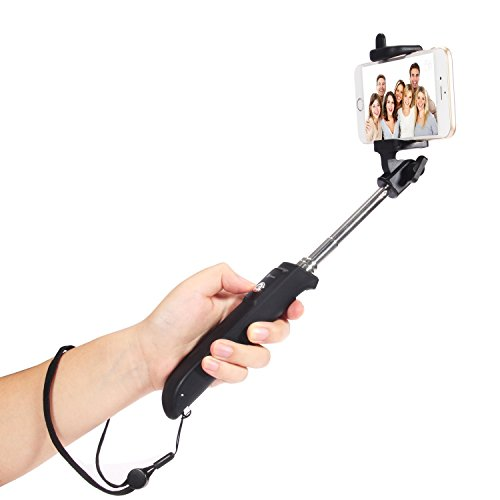 iClever-Portable-Self-portrait-Monopod-Extendable-Selfie-Stick-built-in-Bluetooth-Remote-Black