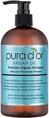 PURA D'OR Hair Loss Prevention Premium Organic Argan Oil Shampoo (Blue Label), 16 Fluid Ounce