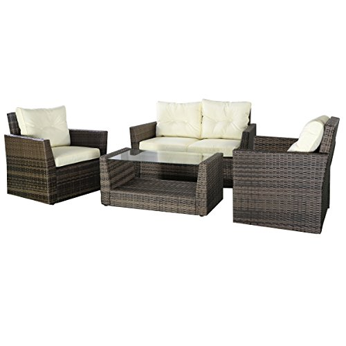 Goplus® 4pc Rattan Sofa Furniture Set Patio Lawn Cushioned Seat Gradient Brown Wicker