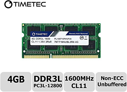 Timetec 4GB DDR3L 1600MHz PC3L-12800 Non ECC Unbuffered 1.35V CL11 2Rx8 Dual Rank 204 Pin SODIMM Laptop Notebook Computer Memory Ram Module Upgrade (4GB - Fast Ship) (Tamaño: 4GB - Fast Ship)