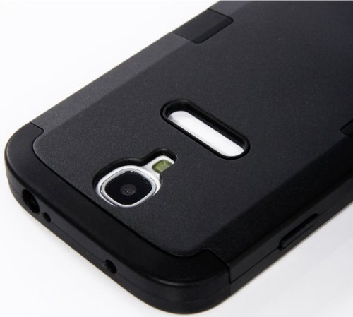 "Mylife Black - Black Matte Robot Design (3 Piece Hybrid) Hard And Soft Case For The Samsung Galaxy S4 ""Fits Models: I9500, I9505, Sph-L720, Galaxy S Iv, Sgh-I337, Sch-I545, Sgh-M919, Sch-R970 And Galaxy S4 Lte-A Touch Phone"" (Fitted Front And Back Solid C"