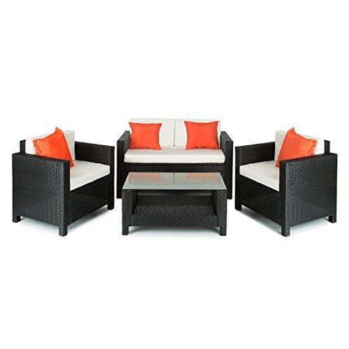 Blumfeldt-Verona-Lounge-Gartenmbel-Set-4-teilige-Sitzgruppe-Gartengarnitur-fr-4-Personen-2x-Sessel-1x-2-Sitzer-Couch-1x-Tisch-aus-Poly-Rattan-schwarz-beige-orange
