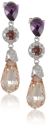 Giorgio Martello Sterling Silver Citrine and Amethyst Cubic-Zirconia Earrings