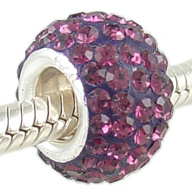 925 Silver Amethyst Crystal PAVE February Birthstone European Charm Bead