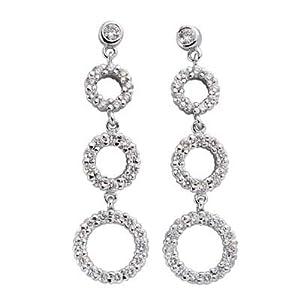 14k White 1.32 Ct Diamond Earrings - JewelryWeb