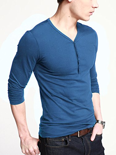 Galleon ilovesia mens henley t shirts with long sleeve for Mens long sleeve slim fit henley shirts