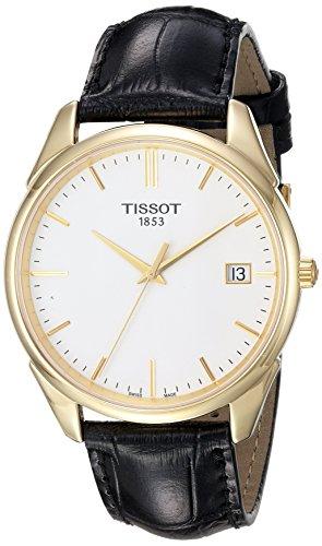 Tissot Men`s T9204101601100 Analog Vintage Quartz Black Leather 18k Gold Watch
