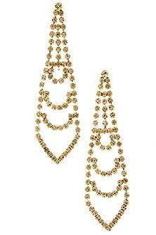 buy Diva & Duchess Tie Shaped Rhinestone Link Earring (Topaz)