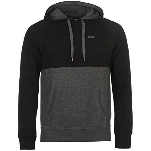 lee-cooper-hommes-cut-and-sew-enfiler-sweat-a-capuche-hoodie-hoody-top-haut-gris-fonce-blk-medium