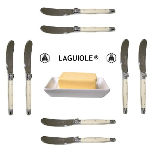 "French Laguiole - 8 Butter Knives/Spreaders - Ivory (Original Genuine French Laguiole Jean Dubost - 6"" - Quality Family Dinner White Color Table Flatware/Cutlery Setting - Manufactured In France - Stainless Steel Lemmet - With Certificate Of Authenticity"