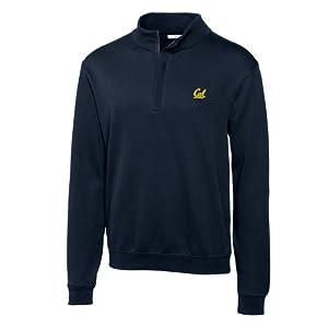 NCAA Mens California Bears Navy Blue Journey Supima Flatback Half Zip Jacket by Cutter & Buck