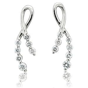 14k White Gold 7-Stone Ribbon Journey Diamond Earrings (GH, I1-I2, 0.38 carat)
