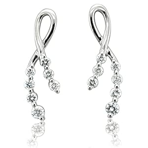 14K White Gold Ribbon Journey Diamond Earrings