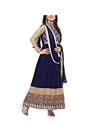 Cream & Blue Designer Gown With Full Sleeve