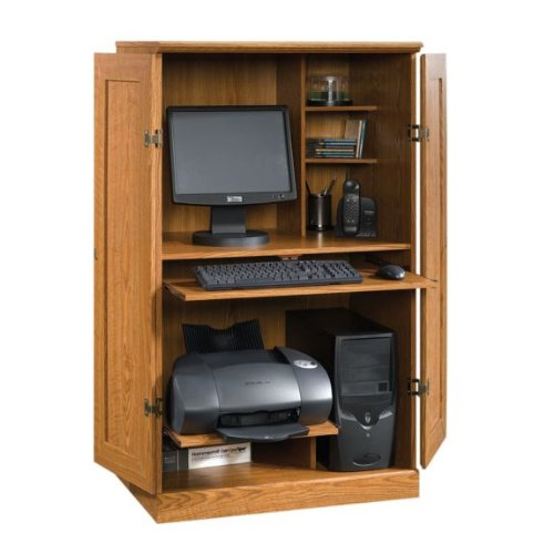 Buy Low Price Comfortable Computer Desk Armoire – Oak Finish (B0052VN79I)