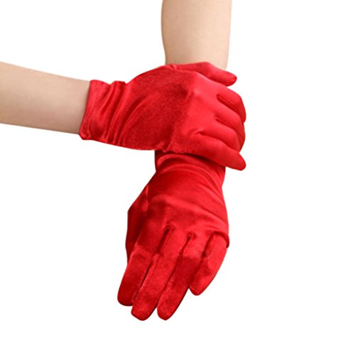 Wedding Bridal Waiters Magicians Perform Etiquette Strechy Wrist Short Satin Gloves