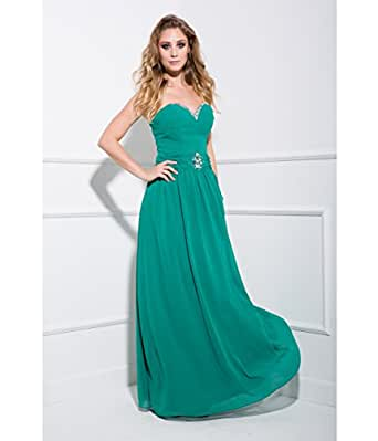 Green Strapless Chiffon Prom Gown 2016 Prom Dresses