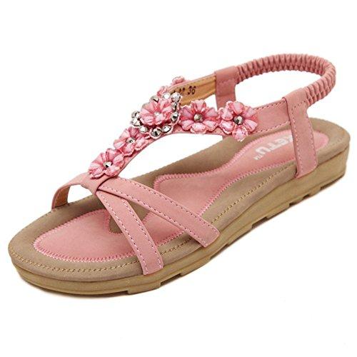 Minetom Donne Ragazze Estate Sandali Spiaggia Scarpe Con Strass Peep Toe Pantofole Rosa 35