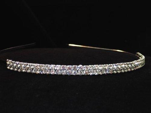 wedding headband bridal tworow rhinestone crystal hair accessory ideal for bridal pageants