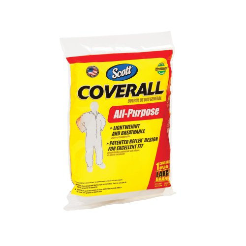 Kimberly-Clark Scott 76350 Fabric All-Purpose Coverall, Disposable, Large, White
